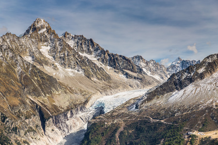 View Of Glacier d Argentiere And Mountain Range In The Background-Mont Blanc Area, France