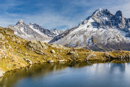 aiguille: View Of Lacs des Cheserys And Aiguille Verte, Aiguille du Chardonnet, Aiguille d Argentiere, Aiguille de l A Neuve And Glacier d Argentiere-France