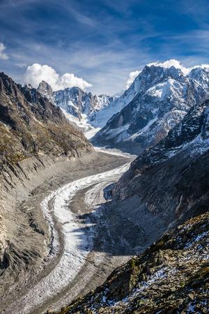 glace: Beautiful View Of Mer De Glace Glacier - Mont Blanc Massif,Chamonix,France Stock Photo
