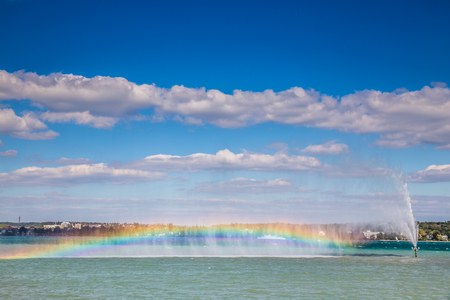 artificially: View Of Colorful Rainbow Artificially Made Above Lake Constance-Bodensee,Switzerland