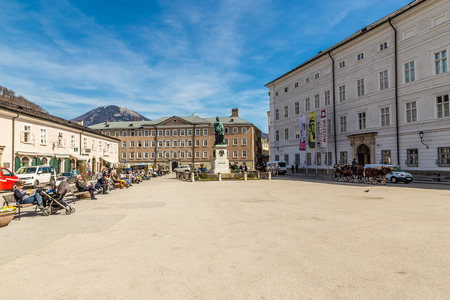 amadeus: View Of Mozart Square With Statue Of Mozart During Summer Day-Salzburg,Austria,Europe Editorial