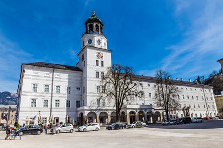 residenz: Neue Residenz Palace With Salzburger Glockenspiel Clock tower- Altstadt,Salzburg, Austria