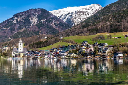 wolfgang: Beautiful View Of Wolfgang Lake With St. Wolfgang Im Salzkammergut And Grosser Hollkogel In The Background And Their Reflection On The Water-Salzkammergut, Austria,Europe