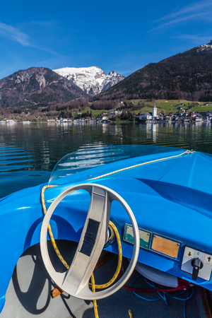 wolfgang: View From Boat Of Wolfgang Lake With St. Wolfgang Im Salzkammergut And Grosser Hollkogel In The Background-Salzkammergut, Austria,Europe