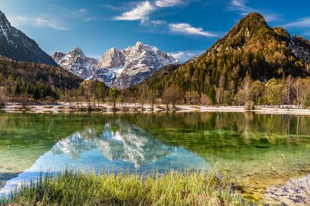 gora: Beautiful View Of Jasna Lake With Stenar,Razor And Kriz Mountains In The Background-Kranjska Gora, Slovenia,Europe