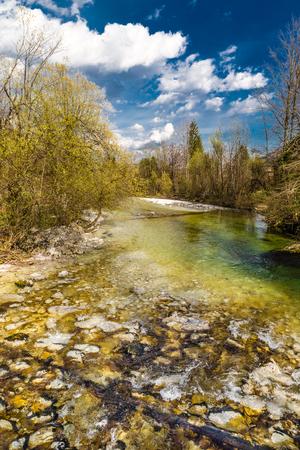 paddler: Stream Of Sava Bohinjka River During Summer Day- Lake Bohinj, Slovenia, Europe Stock Photo