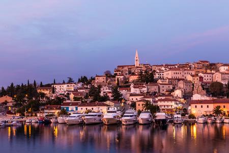 murk: Beautiful View Of Vrsar Port And Vrsar Village With Landmark Of Church Tower After Sunset-Istria,Croatia,Europe Stock Photo