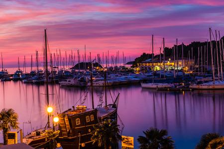 murk: Beautiful View Of Vrsar Port During Colorful Sunset-Istria,Croatia,Europe
