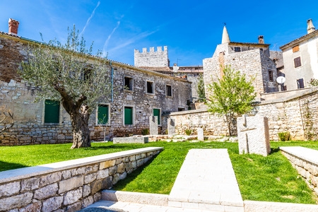 visitation: Public Park And Tower Of Parish church of Visitation of Blessed Virgin Mary to St. Elizabet - Bale, Istria, Croatia, Europe Stock Photo
