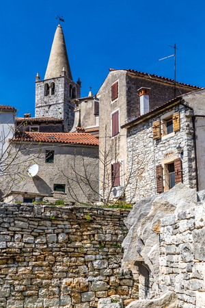 visitation: Tower Of Parish church of Visitation of Blessed Virgin Mary to St. Elizabet And Traditional Buildings - Bale, Istria, Croatia, Europe
