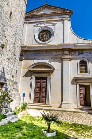 visitation: The Parish church of Visitation of Blessed Virgin Mary to St. Elizabet - Bale, Istria, Croatia, Europe Stock Photo