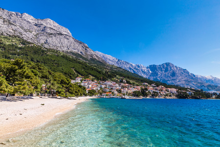 Amazing View Of Brela Village, Sea, Empty Beach And Biokovo Mountain - Brela, Makarska, Dalmatia, Croatia Stock Photo
