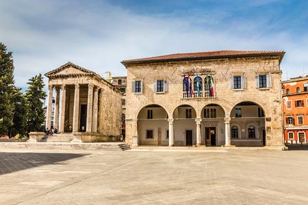 corinthian: Ancient Temple Of Augustus With Corinthian Columns And Communal Palace - Pula, Istria, Croatia Editorial