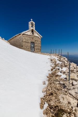 jure: Chapel On The Snowy St. George (Sveti Jure) Mountain - Biokovo Mountain, Croatia, Europe
