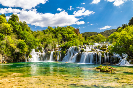 Beautiful Skradinski Buk Waterfall In Krka National Park - Dalmatia Croatia, Europe Banco de Imagens
