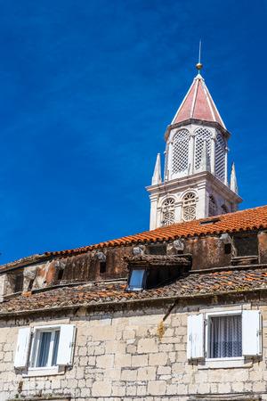 dalmatia: White Church Tower During Summer Day - Trogir, Dalmatia, Croatia, Europe Stock Photo