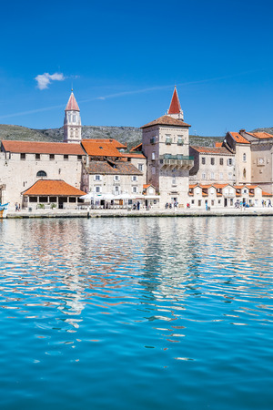 Seafront Promenade With Old Buildings And Church Towers - Trogir, Dalmatia, Croatia, Europe Stock Photo