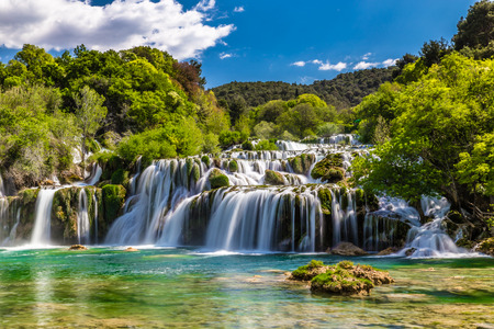 Beautiful Skradinski Buk Waterfall In Krka National Park - Dalmatia Croatia, Europe 免版税图像