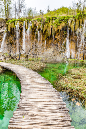 foot bridges: Wooden Bridge Over Plitvice Lakes And Waterfalls - Plitvice Lakes National Park, Croatia, Europe
