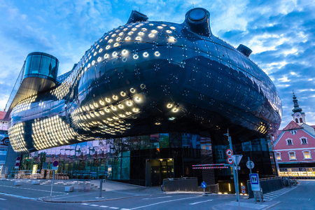 Lit Kunsthaus Graz In The Evening - Graz, Styria, Austria, Europe