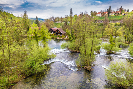 watermills: Picturesque Little Waterfalls And Traditional Buildings Along The Slunjcica River - Rastoke, Slunj, Croatia, Europe Stock Photo