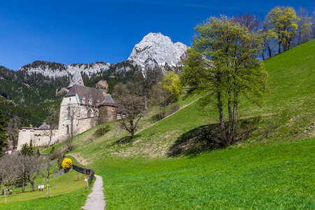 Landscape In Eisenerz With Gothic Church Of Saint Oswald  - Eisenerz, Styria, Austria, Europe