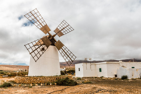 traditional windmill: Traditional Windmill - Fuerteventura, Canary Islands, Spain Stock Photo