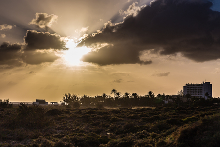 playa: Amazing Sunset With Palm Trees Silhouettes- Morro Jable, Fuerteventura, Canary Islands, Spain Stock Photo