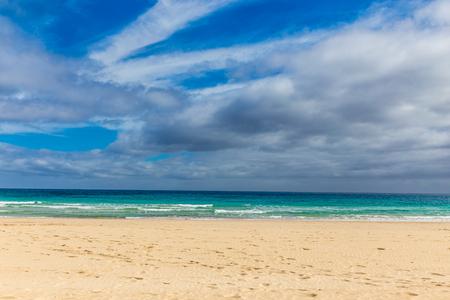 corralejo: Empty Sandy Beach - Corralejo, Fuerteventura, Canary Islands, Spain