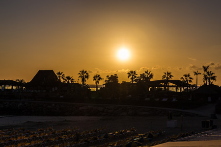 Amazing Sunset With Palm Trees Silhouettes- Amadores Beach, Puerto Rico, Gran Canaria, Canary Island, Spain, Europe