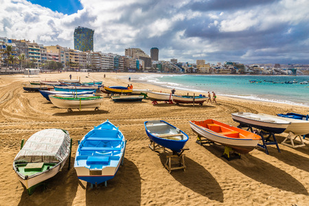 Boats On The Beach - Las Palmas, Gran Canaria, Canary Island, Spain, Europe 版權商用圖片 - 65782427