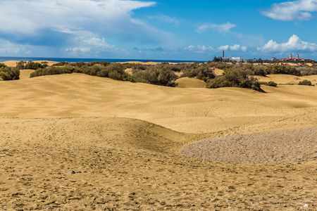 Maspalomas Sand Dunes And City - Maspalomas, Gran Canaria, Canary Islands, Spain