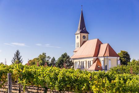 Beautiful Church In Vineyard - Vrbice, Czech Republic, Europe Stock Photo