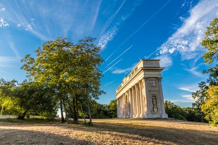 Neoclassical Colonnade Reistna - Valtice, Czech Republic, europe Stock Photo