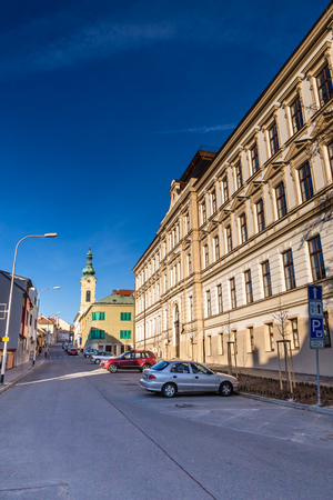 Residential Buildings And Parish Church Of The Immaculate Conception - Uhersky Brod, Czech Republic, Europe Stock Photo