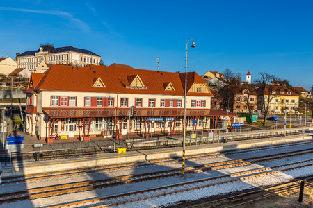 renovated: Renovated Railway Station With Uhersky Brod Sign - Uhersky Brod, Czech Republic, Europe