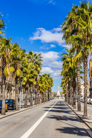 Passeig Isabel II Street And Font del Geni Catala - Barcelona, Catalonia, Spain, Europe Stock Photo