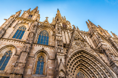 Cathedral of the Holy Cross and Saint Eulalia - Barcelona, Catalonia, Spain, Europe Stock Photo