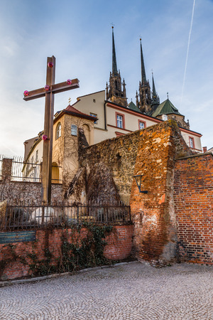 Cathedral of St Peter and Paul Behind The Cross - Brno, Moravia, Czech Republic, Europe