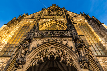 windows and doors: Front Side Of Cathedral of St Peter and Paul - Brno, Moravia, Czech Republic, Europe