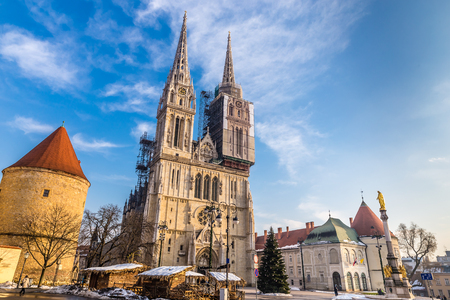 Cathedral And St.Mary's Column - Zagreb, Croatia, Europe Фото со стока