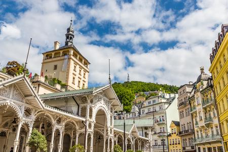 시장 콜로 네이드 - 카를로 비 바리 (Carlsbad), 체코, 유럽 스톡 콘텐츠
