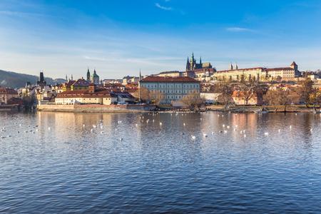 Panoramic View Of Prague Castle, Charles Bridge And Vltava river - Prague, Czech Republic, Europe
