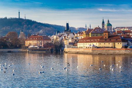 Panoramic View Of Prague Castle, Charles Bridge, Petrin and Vltava river - Prague, Czech Republic, Europe Stock Photo
