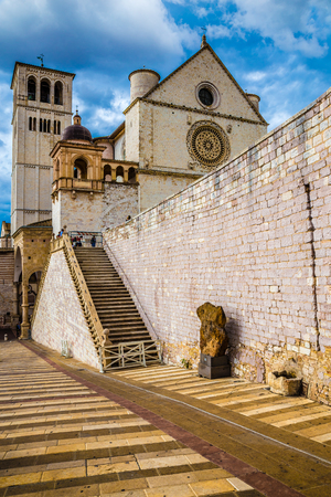 Papal Basilica of Saint Francis of Assisi - Assisi, Province of Perugia, Umbria Region, Italy, Europe Stock Photo