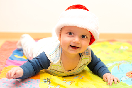 Adorable Little Boy In Christmas Hat