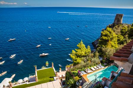 Swimming Pool On Amalfi Coast - Salerno, Campania, Italy, Europe Stock Photo