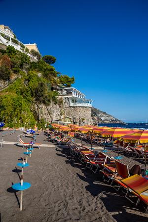 Positano Beach - Amalfi Coast, Salerno Province, Campania Region, Italy, Europe