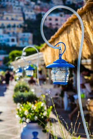 Vintage Street Lamp - Positano, Amalfi Coast, Italy, Europe Stock Photo