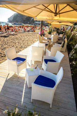 Restaurant On Positano Beach - Amalfi Coast, Salerno Province, Campania Region, Italy, Europe